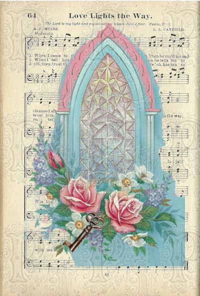 Aqua stainedglass on hymnal