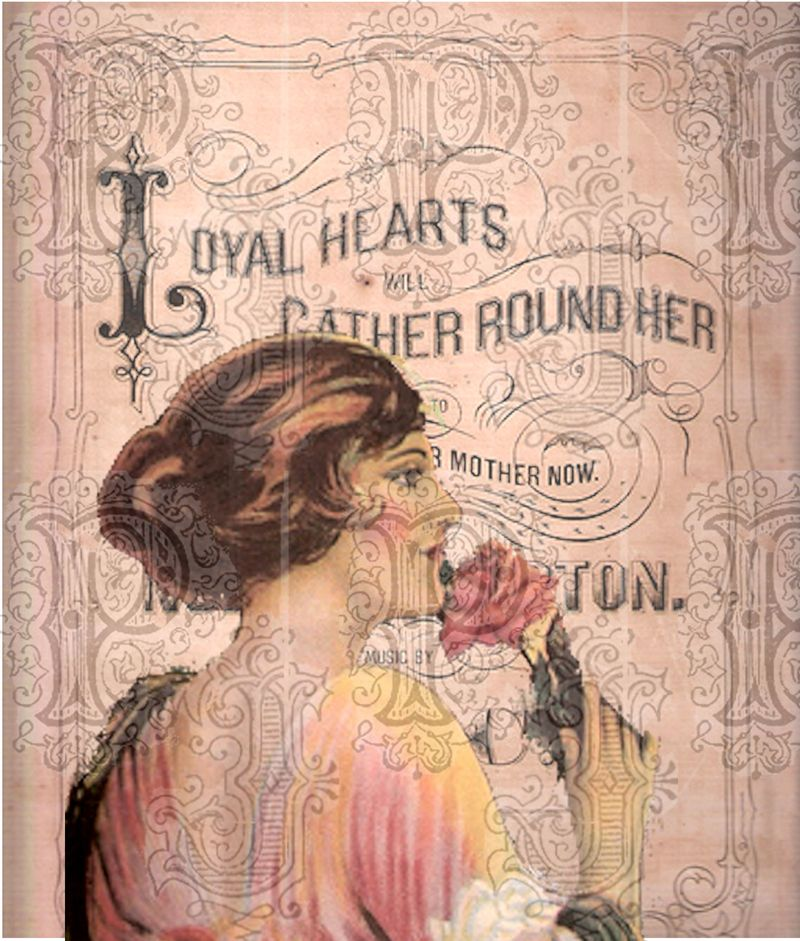 Lady with pink rose on sheet music cover