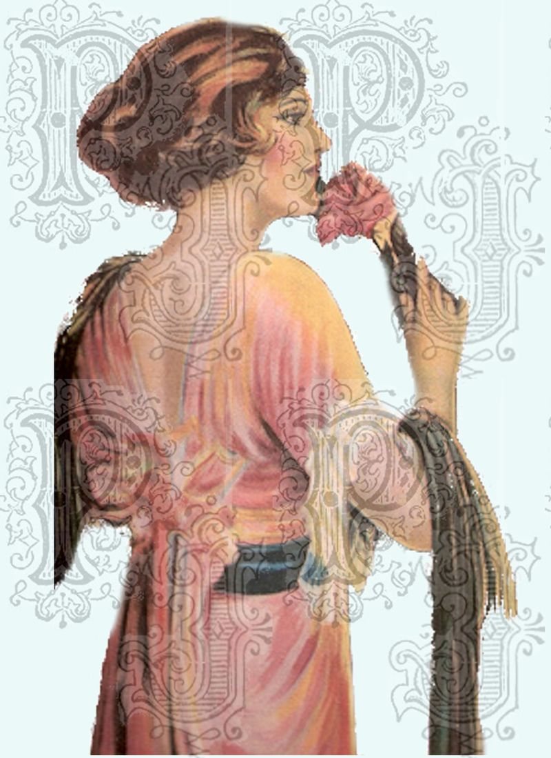 Lady with rose on aqua bg